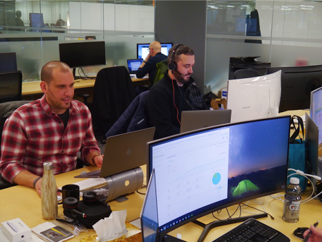 Upchain team hard at work at the office