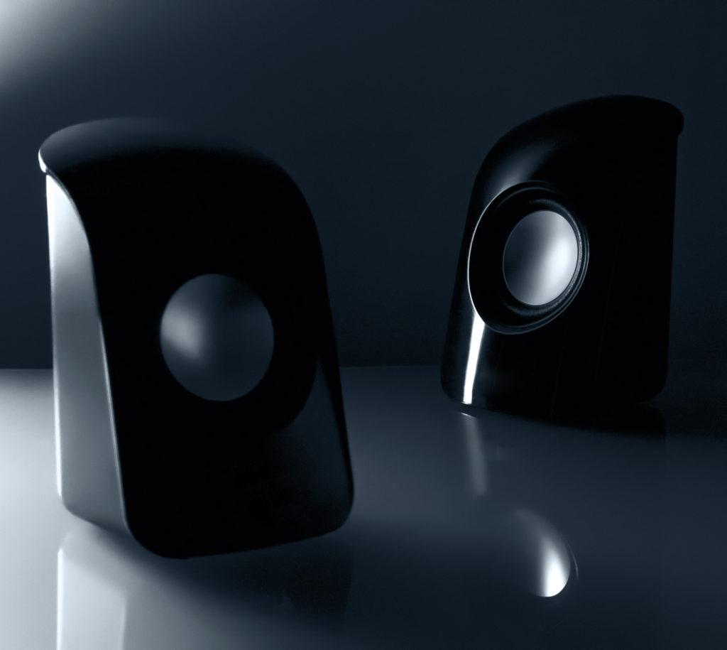 two black portable speakers